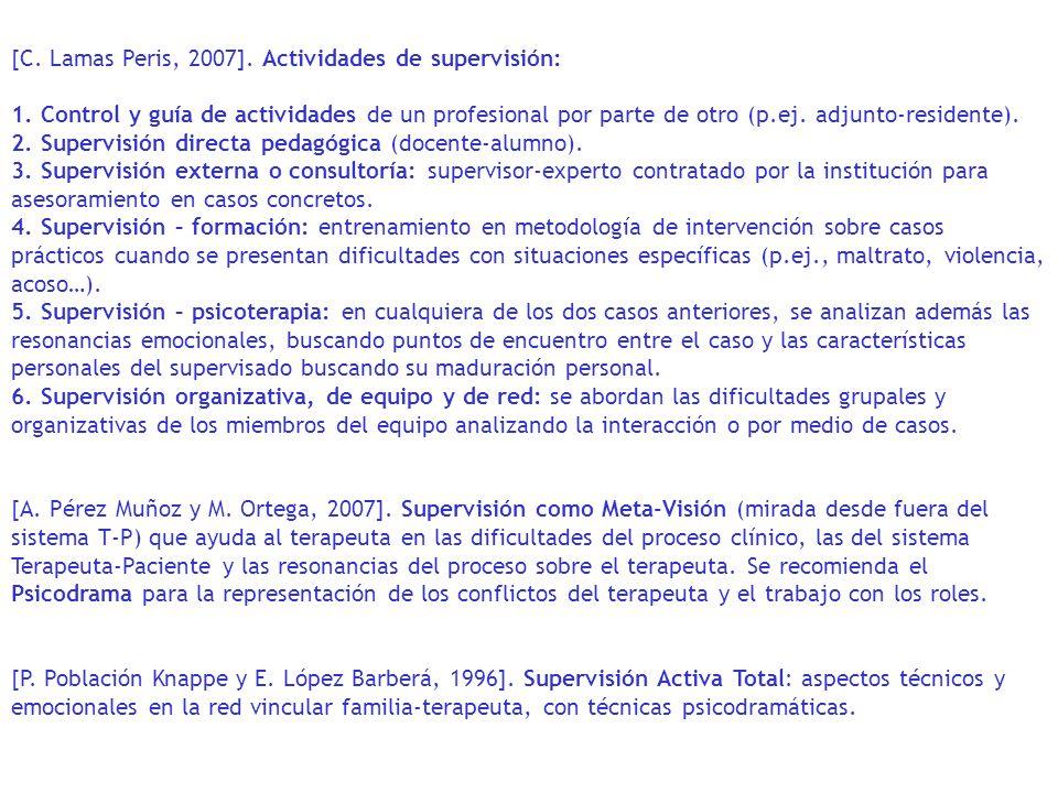 [C. Lamas Peris, 2007]. Actividades de supervisión: